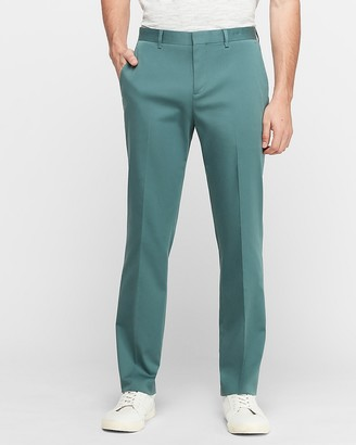 Express Slim Teal Solid Cotton-Blend Performance Suit Pant