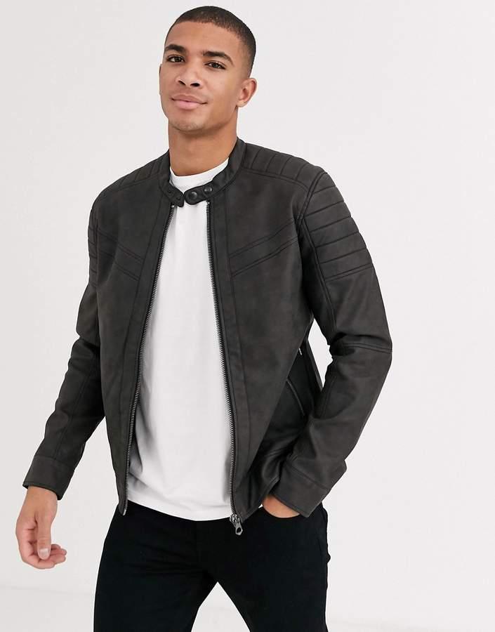 Jack and Jones biker jacket in faux leather-Gray