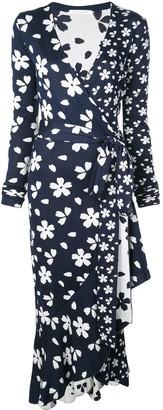 Oscar de la Renta Flower Wrap Dress