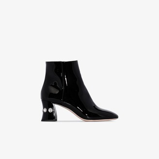Miu Miu Black 65 crystal patent leather ankle boots
