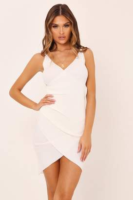 I SAW IT FIRST Cream Chain Strap Knitted Wrap Dress