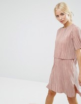 Asos Double Layer T-Shirt Dress In Plisse