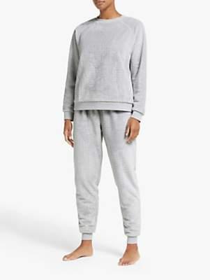 John Lewis & Partners Lena Zig Zag Fleece Twosie Pyjama Set, Grey