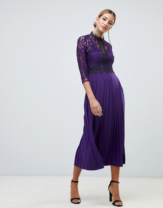 Little Mistress contrast lace prom skater midi dress in purple