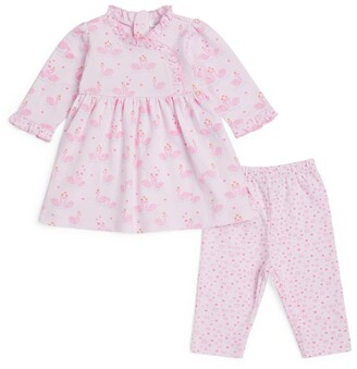 Kissy Kissy Swan Print Dress And Leggings Set (0-24 Months)