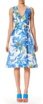Carolina Herrera V-Neck Sleeveless Fit-and-Flare Floral-Print Dress