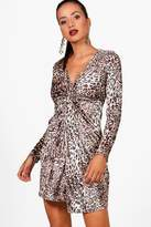 boohoo Tara Velvet Leopard Long Sleeve Dress