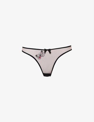 Agent Provocateur Odelia butterfly-embroidered low-rise tulle briefs