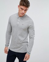 Tommy Hilfiger Pique Polo Long Sleeve Flag Logo in Gray Marl