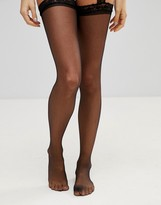 Leg Avenue Sheer Thigh High Tights With Lace Garterbelt