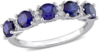 Delmar Sterling Silver Circle Cut Sapphire & White Topaz Eternity Ring