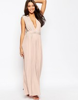 Asos Plunge Pleated Maxi Dress