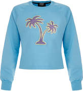 Markus Lupfer Blue Glitter Lurex Palm Tree Hayley Sweatshirt
