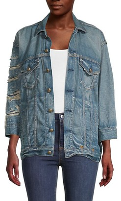 R 13 Oversized Destroyed Denim Jacket