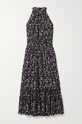 MICHAEL Michael Kors Gathered Tiered Floral-print Georgette Midi Dress - Black