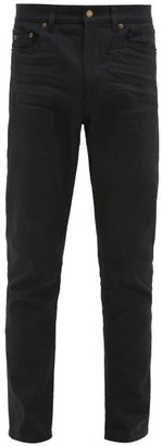 Saint Laurent Distressed Slim-leg Jeans - Mens - Black