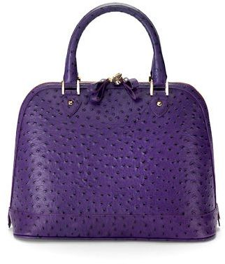 Aspinal of London Classic Hepburn Purple Ostrich Bag