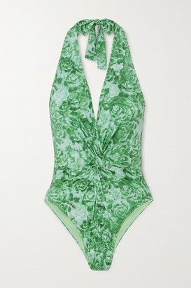 Ganni Net Sustain Twist-front Floral-print Halterneck Swimsuit - Bright green