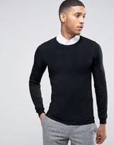 Asos Merino Crew Sweater in Muscle Fit