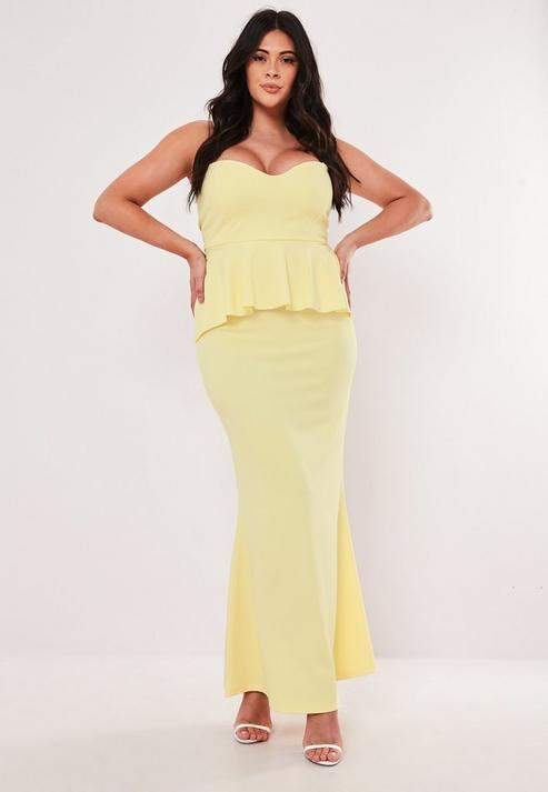 Plus Size Bridesmaid Lemon Bandeau Maxi Dress