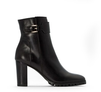 La Redoute Collections Leather Boots with Notched Sole