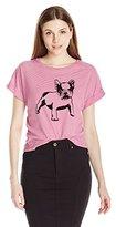 Buffalo David Bitton Women's Flocky-Doggy Striped Shirt with Flocked Bulldog Graphic
