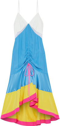 Prabal Gurung Satin-paneled Color-block Silk Crepe De Chine Midi Dress