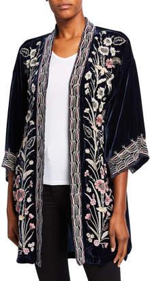 Johnny Was Rosa Embroidered Velvet Kimono Jacket