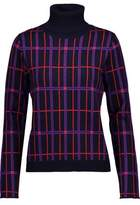 Carven Metallic Checked Wool-Blend Jacquard Turtleneck Sweater