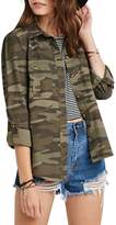 Eiffel Store Eiffel Women's Military Camouflage Army Button Up Short Jacket Blouse Top Coat