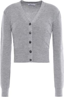 Alexander Wang Cropped Cutout Twisted Ribbed Wool Cardigan