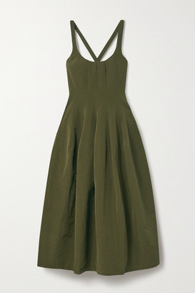 Brock Collection Cotton, Linen And Silk-blend Midi Dress - Army green