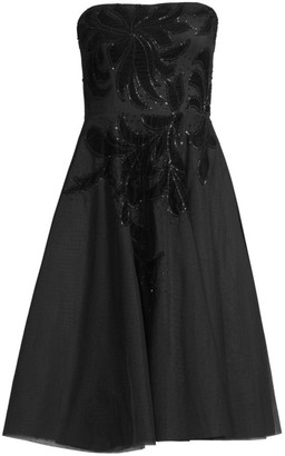 Aidan Mattox Strapless Velvet Floral Tea-Length Dress