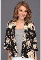 Brigitte Bailey Laylah Summer Flower Blazer (Black) - Apparel