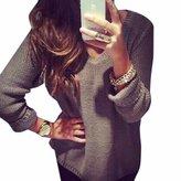 QIYUN.Z Women Autumn Loose Knitting Sweater V-neck Long Sleeves Casual Chandail