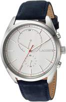 Lacoste Men's 'SAN DIEGO' Quartz Stainless Steel and Leather Casual Watch, Color:Blue (Model: 2010916)