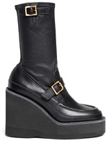 Sacai Leather loafer wedge ankle boots