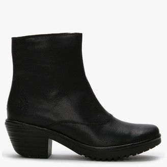 Fly London Wine Black Leather Block Heel Ankle Boots
