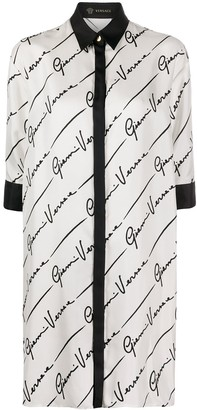 Versace GV Signature silk shirt dress