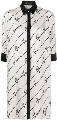 Versace GV Signature silk shirt dress