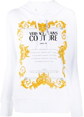 Versace Jeans Couture Framed Certificate-Print Hoodie