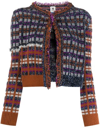 M Missoni Metallic Check-Pattern Cardigan