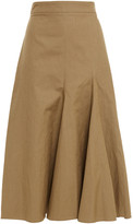 Thumbnail for your product : Joseph Pleated Cotton And Linen-blend Canvas Midi Skirt