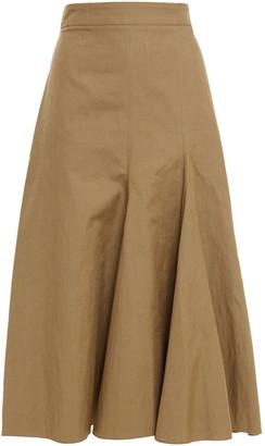 Joseph Pleated Cotton And Linen-blend Canvas Midi Skirt