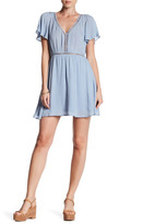 Lucca Couture Flutter Sleeve Ladder Trim Dress