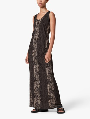 AllSaints Ami Animal Print Maxi Dress, Olive Green