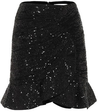 Self-Portrait Sequined stretch-jersey miniskirt