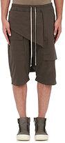 Rick Owens Men's Cotton Moleskin Pod Shorts-GREY, DARK GREY