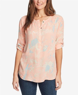 Nine West Women's Lucy Roll Tab Long Sleeve Pullover Top