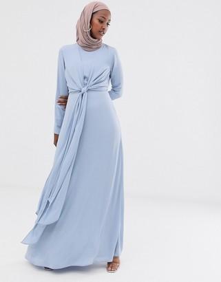 Asos Design DESIGN maxi dress with wrap waist and long sleeve-Blue